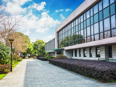 Entrance of modern office building. External Cleaning service Cambridge.