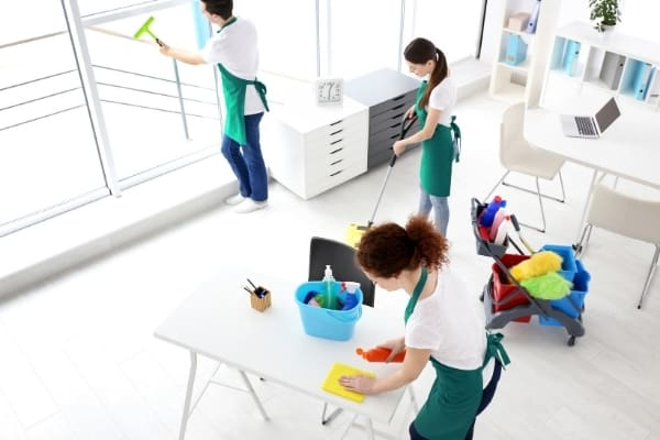 Uniformed cleaning staff