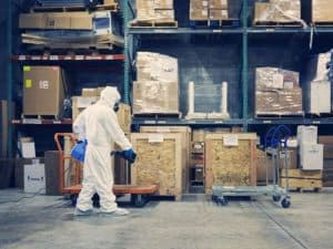 Covid-secure warehouse and factory Spotless commercial cleaning Cambridge